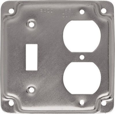 Raco Square Steel 2 gang Electrical Cover For 1 Toggle and 1 Duplex Silver