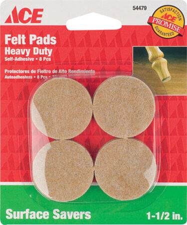 Ace Felt Round Self Adhesive Pad Brown 1-1/2 in. W 8 pk