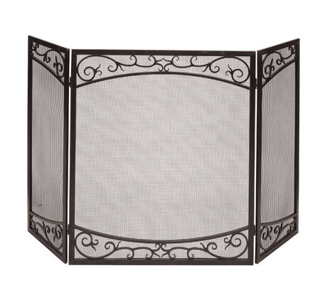Panacea Brushed Bronze Steel Fireplace Screen Indoor