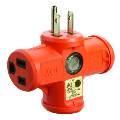 Ace Grounded Triple Outlet Adapter Orange 15 amps 125 volts 1 pk