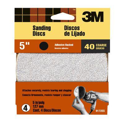 3M 5 in. Dia. Sanding Disc 40 Grit Coarse Adhesive 4 pk