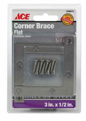 Ace Inside Corner Brace 3 in. x 1/2 in. Stainless Steel