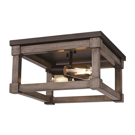 Trans Globe Lighting Flush Mount Wood Square 2 Light B