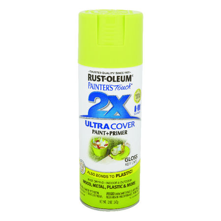 Rust-Oleum Painter's Touch Ultra Cover Key Lime Gloss 2x Paint+Primer Enamel Spray 12 oz.