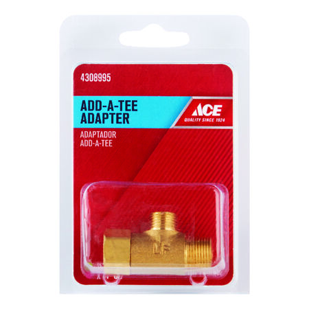 Ace 3/8 in. Female Compression Swivel x 1/4 in. Dia. Male Compression Brass Add A Tee Adapter
