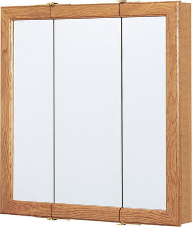 Continental Cabinets Medicine Cabinet Triview 24 in. x 24 in. x 4-1/4 in. Oak
