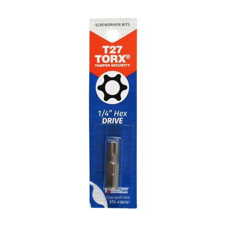 Best Way Tools T27 Torx Screwdriver Bit 1/4 in. Dia. x 1 in. L 1 pc.