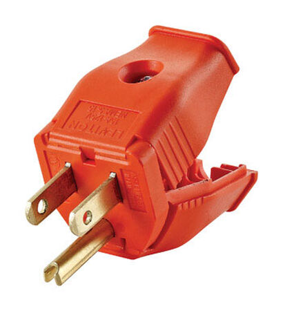 Leviton Residential Thermoplastic Straight Blade Grounding Plug 5-15P 18-12 AWG 2 Pole 3 Wire