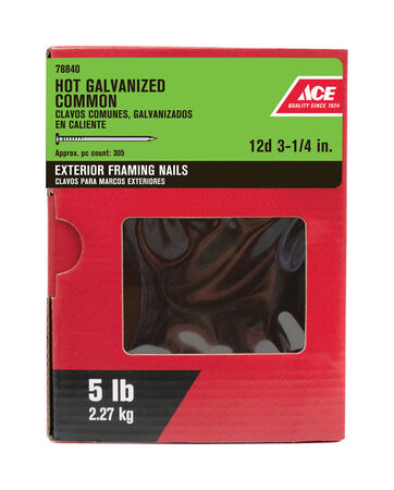 Ace Flat 3-1/4 in. L Common Nail Smooth Hot-Dipped Galvanized Steel 5 lb.