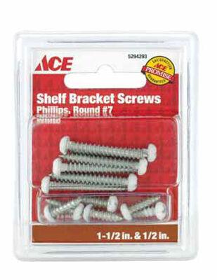 Ace Steel White Shelf Bracket Ornamental Shelf Bracket Screws Assorted in. L