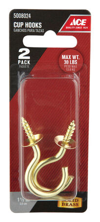 Ace 2.0625 in. L Bright Brass Brass Cup Hook 1 pk