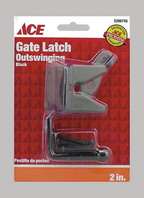 Ace Gate Latch Outswing 2 in. x 1-3/4 in. For gates Shed/Barn Doors or Animal Pens Black