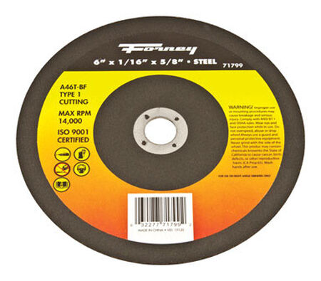 Forney 6 in. Dia. x 1/16 in. thick x 5/8 in. Metal Cut-Off Wheel