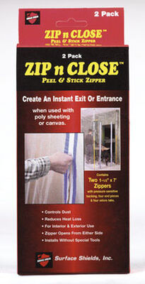 Surface Shields Zip N Close Peel and Stick Zipper 1.5 in. W x 7 ft. L Poly