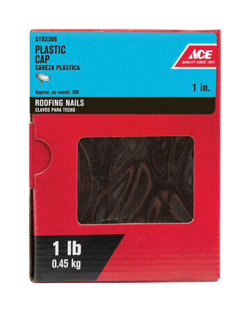 Ace Plastic 1 in. L Roofing Nail Straight Galvanized Galvanized 1 lb.
