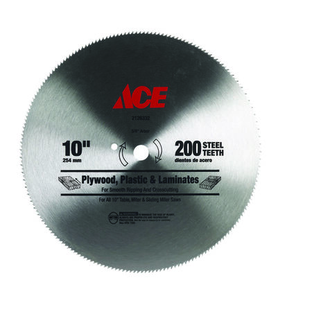 Ace 10 in. Dia. 200 teeth Steel Circular Saw Blade For Fine Tooth Finish