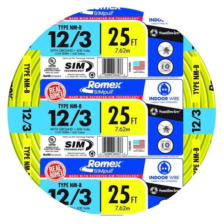 Southwire 25 ft. 12/3 Romex Type NM-B WG Non-Metallic Wire Yellow