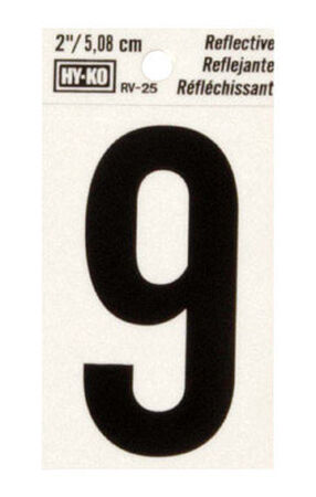 Hy-Ko Self-Adhesive Black 2 in. Reflective Vinyl Number 9