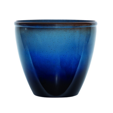 Suncast Modern Blue/Brown Resin Modern Planter 14 in. H x 16 in. W x 16 in. L