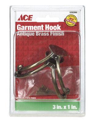 Ace Small Double Garment Hook 1-3/4 in. L Brass 2 pk