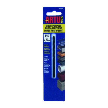 ARTU Carbide Tipped Straight Shank 3/16 in. Dia. x 3-1/2 in. L Drill Bit 1 pc.