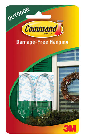 3M Command Medium Outdoor Window Hook 2-3/8 in. L Plastic 2 lb. per Hook 2 pk