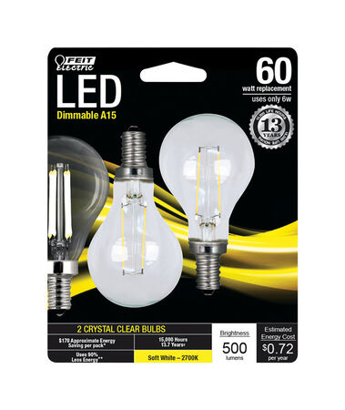 FEIT Electric Performance LED Bulb 6 watts 500 lumens 2700 K A-Line A15 2 pk 60 watts equivalen