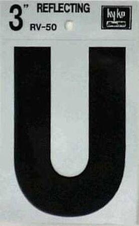 Hy-Ko Self-Adhesive Black 3 in. Reflective Vinyl Letter U