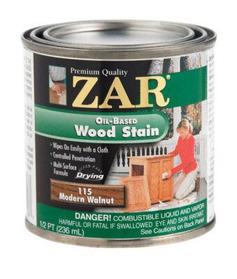 ZAR Semi-Transparent Oil-Based Wood Stain Modern Walnut Tintable 1/2 pt.