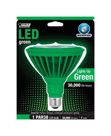 FEIT Electric LED Bulb 7 watts Weatherproof Medium Base (E26) PAR38 Green 1