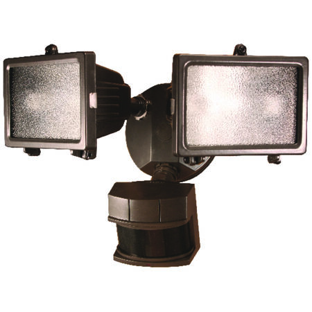 Heath Zenith Bronze Metal Security Light Motion-Sensing Quartz Halogen 120 volts 150 watts