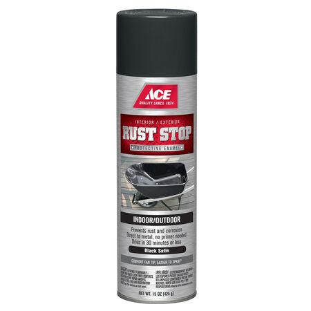 Ace Rust Stop Satin Black Spray Paint 15 oz.