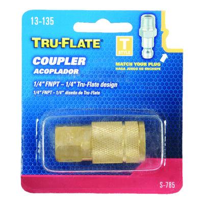 Tru-Flate Brass Quick Change Coupler 1/4 in. FNPT Female T