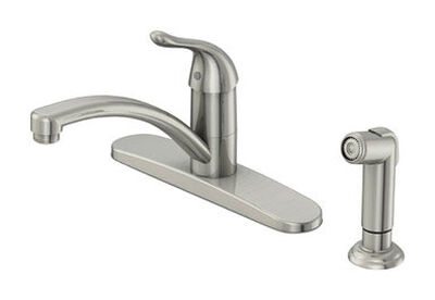 OakBrook Washerless Cartridge One Handle Nickel Kitchen Faucet Side Sprayer Included