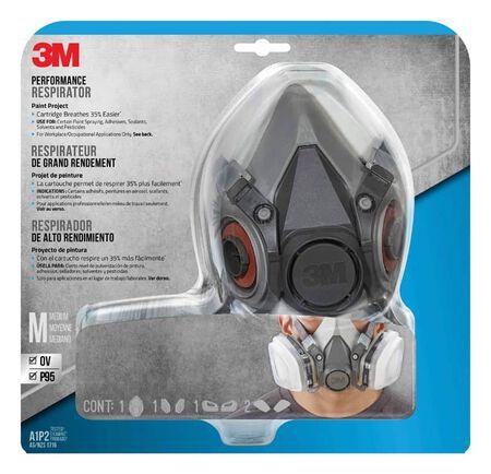 3M P95 Paint Project Half Face Respirator Valved Gray M 1 pc.