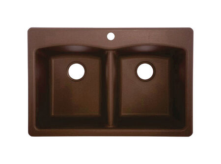 Franke Granite Composite Granite Dual Mount 22 in. W x 33 in. L Double Kitchen Sink Mocha