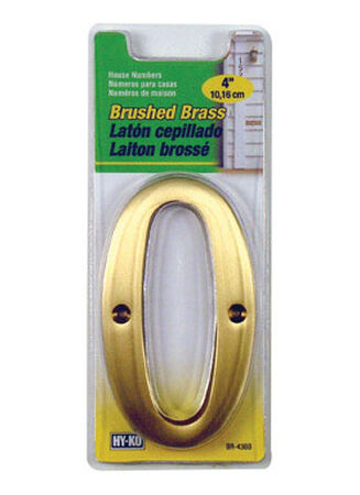 Hy-Ko Nail On 4 in. Brushed Brass Number 0