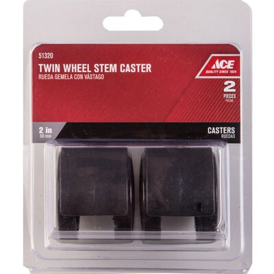 Ace 2 in. Dia. Swivel Black Twin Wheel Caster with Stem 75 lb. 2 pk