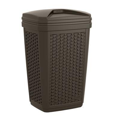 Suncast Trash Hideaway 30 gal. Resin Wicker Trash Can