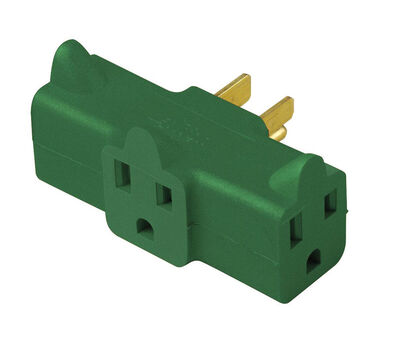 Ace Grounded Triple Grounding Adapter Green 15 amps 125 volts 1 pk
