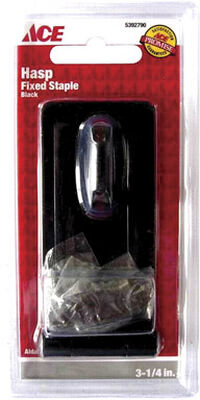Ace Black Steel Fixed Staple Safety Hasp 3-1/4 in. L