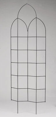 Panacea Black Steel Zigzag Spires Trellis 24 in. W x 72 in. H Wall