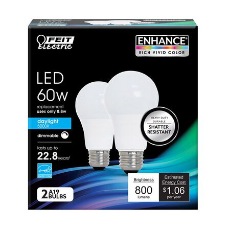 FEIT Electric LED Bulb 9.5 watts 800 lumens 5000 K A-Line Medium Base (E26) A19 2 pk