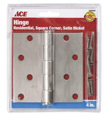 Ace Steel Residential Hinge 4 in. L Satin Nickel 1 pk