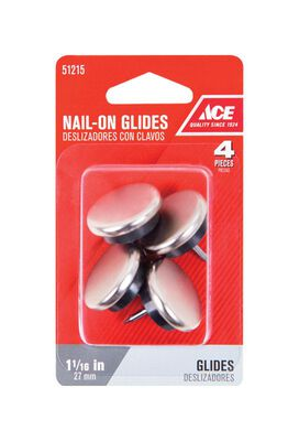 Ace 1.06 in. W x 1.06 in. Dia. Nylon / Nickle Nail-On Glide with Nickel Base 4