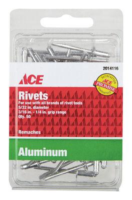 Ace 1/6 in. Dia. x 1/4 in. Aluminum Rivets 50 pk
