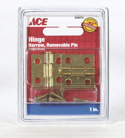 Ace 1 in. L Narrow Hinge Bright Brass