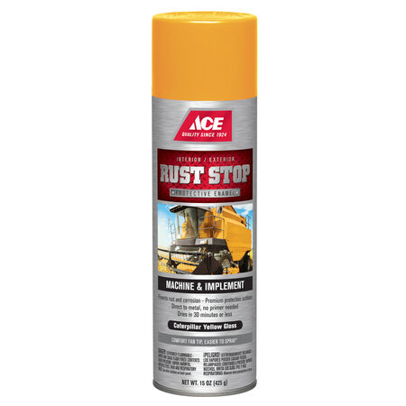 Ace Rust Stop Gloss Caterpillar Yellow Protective Enamel Spray 15 oz.