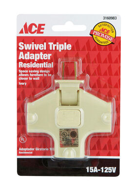 Ace Polarized Swivel Outlet Adapter Ivory 15 amps 125 volts 1 pk