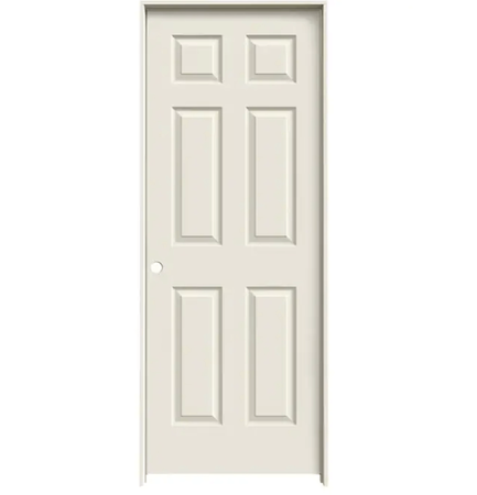 "Colonist 18"" x 80"" Single Prehung Interior Door Unit - Primed 6-Panel Hollow Core Left Hand w/ Flat Jamb - No Trim"